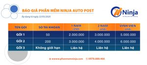 bảng giá phần mềm ninja auto post